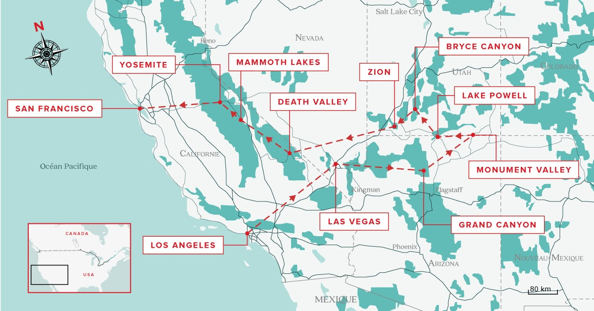 Carte Routiere Usa Cote Ouest.Road Trip Aux Etats Unis Circuit De 8 15 Et 21 Jours Aux Usa