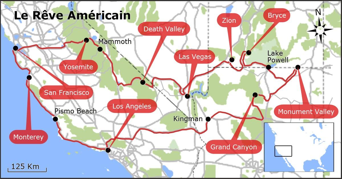 ouest americain carte touristique - Photo