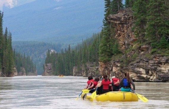 Rafting sur la rivière Athabasca, Jasper, AB
