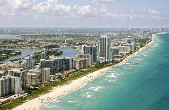 Vue aérienne de Miami Beach