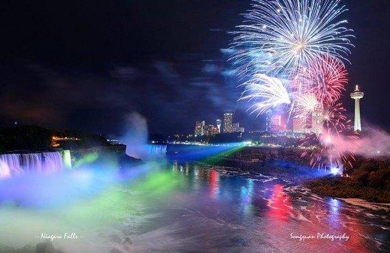 Jeux de lumière sur les chutes Niagara