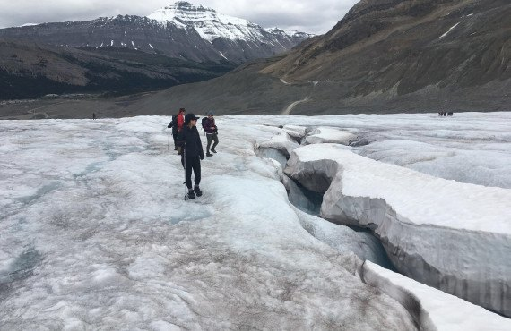 Crevasses on the glacier