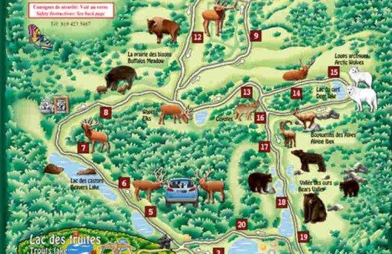 Carte du Parc animalier Oméga - Montebello, QC