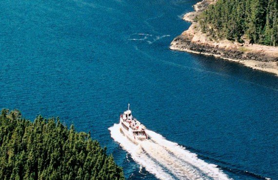 Vue aérienne sur le fjord du Saguenay