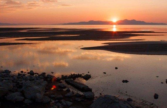 Coucher de soleil sur le Grand Lac Salé