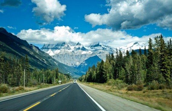 Route Icefield Parkway entre Banff et Jasper