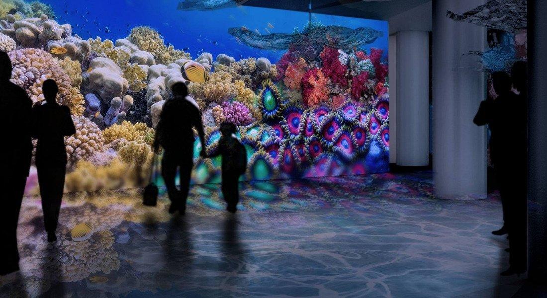 Famille devant un bassin de poissons à l'aquarium de Long Beach