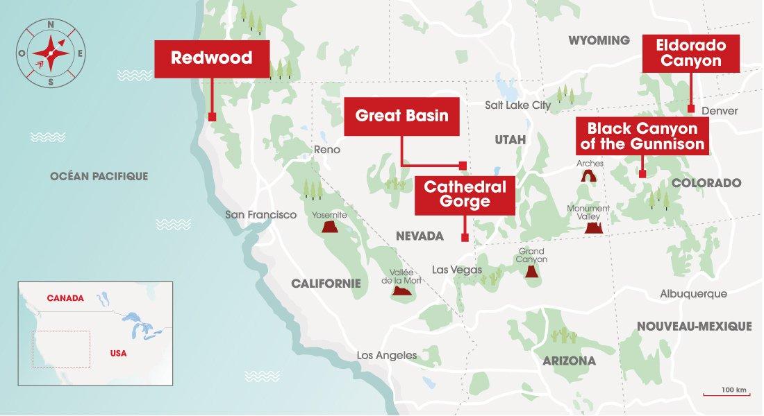 Localisation des parcs sur une carte