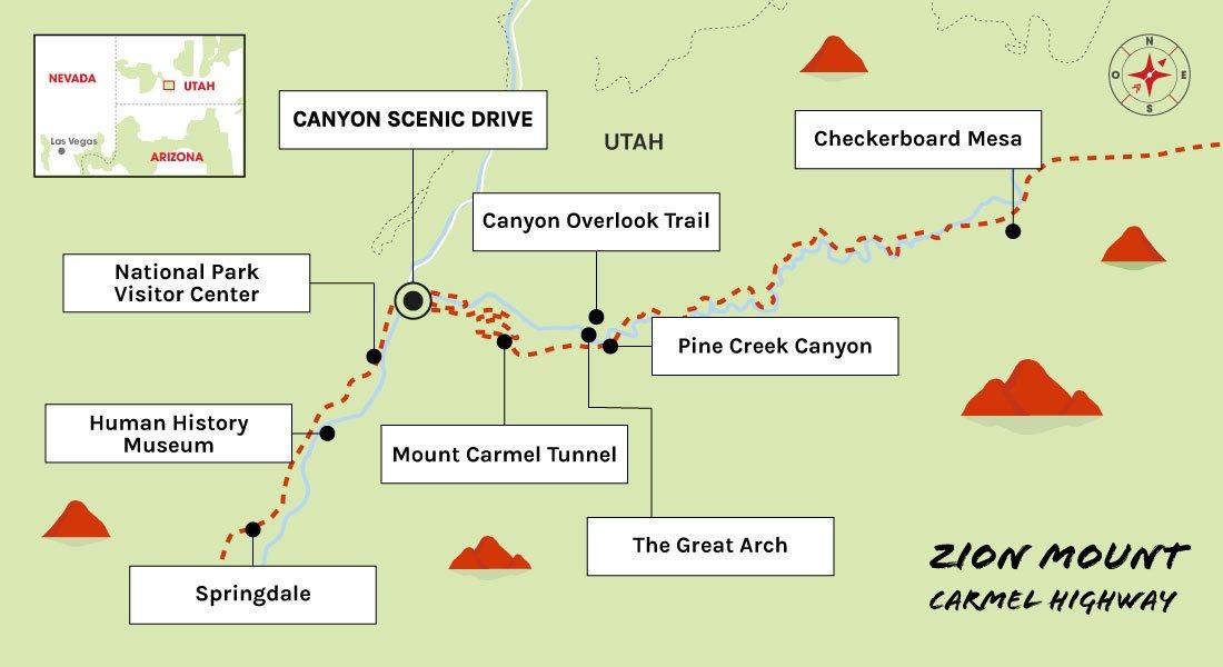 carte parc national de zion