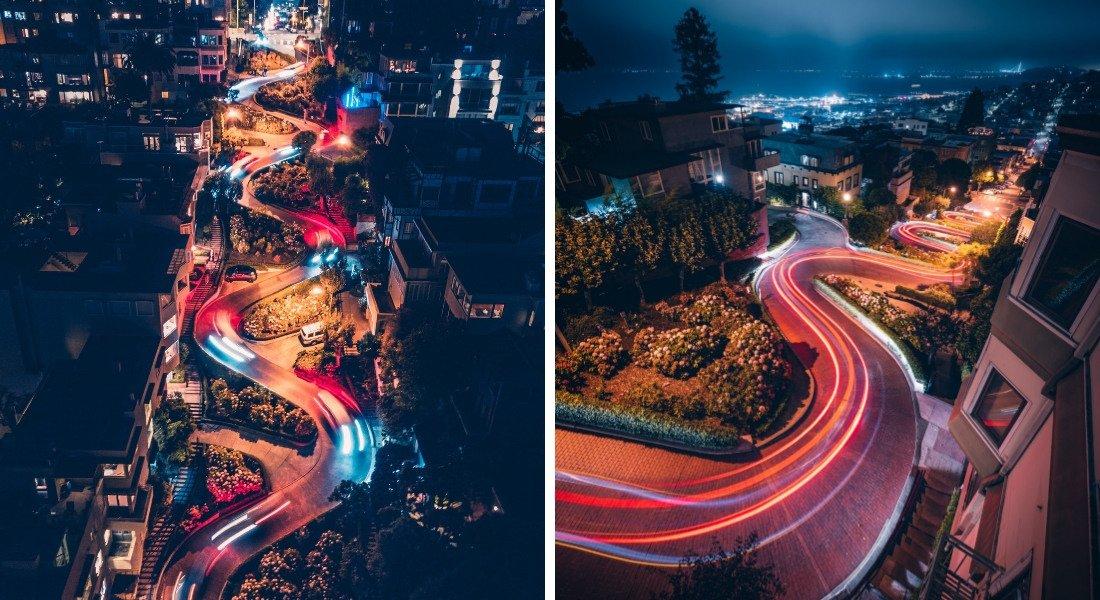 Lombard Street de nuit à San Francisco