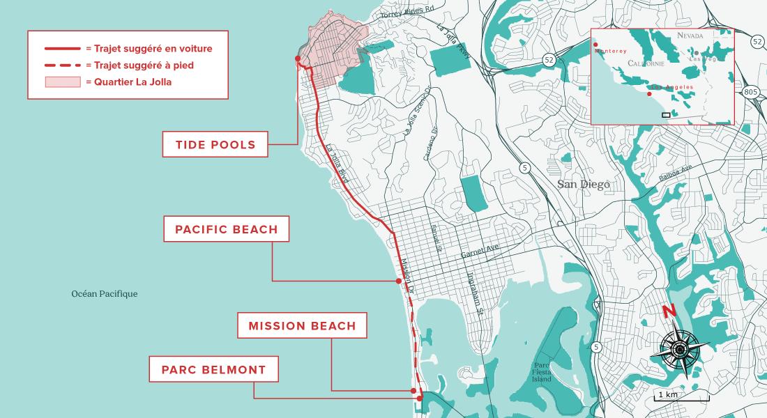 Carte pour visiter San Diego en 2 jours