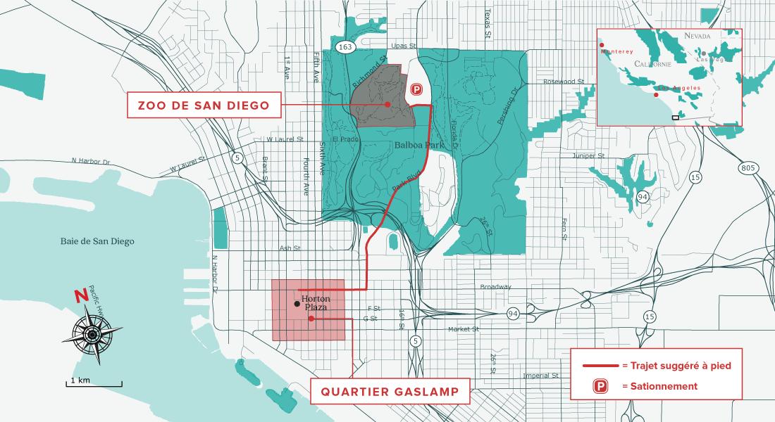 Carte pour visiter San Diego en 48 heures