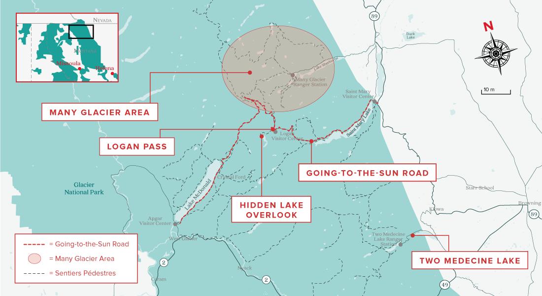 glacier national park carte activités
