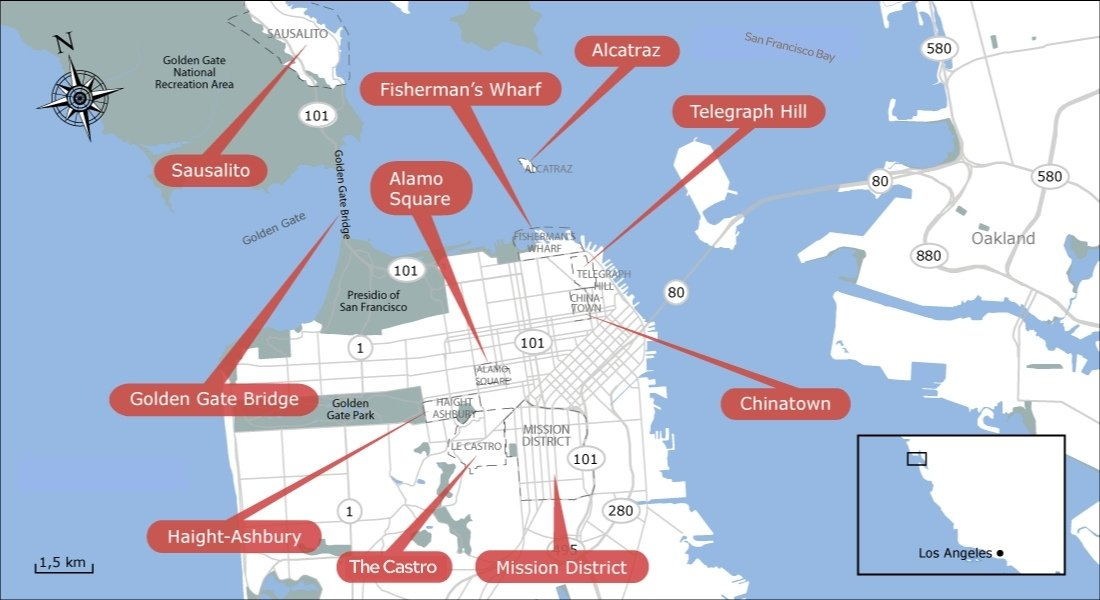 San Francisco map of things to do