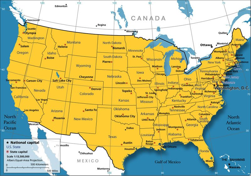 Map of the USA   Best destinations