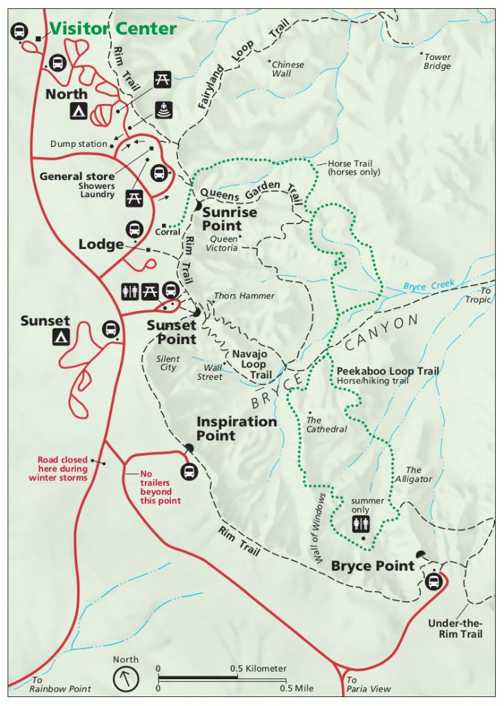 Vues panoramiques au Parc de Bryce Canyon - Mappe