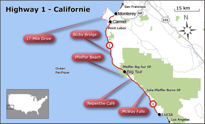 Carte de la Highway 1 en Californie et Big Sur