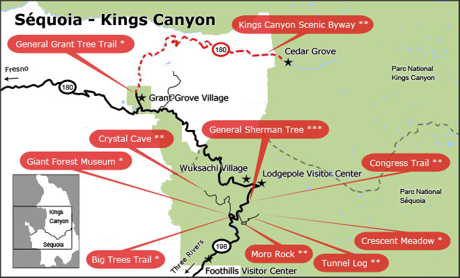 Carte du Parc Sequoia et Kings Canyon